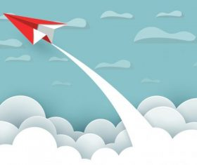 Airplane red fly and sky between cloud vector background