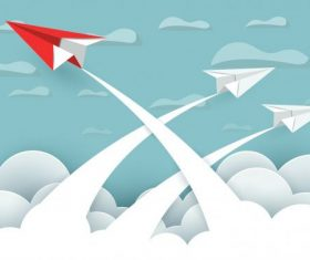 Paper airplane red and white are fly up vector