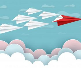 Paper airplane red and white sky background vector