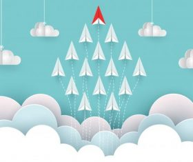 Airplane red and white are fly up to sky background vector