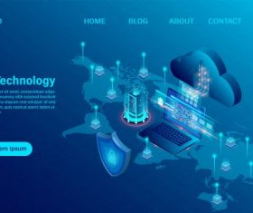 Cloud computing concept online computing technology vector