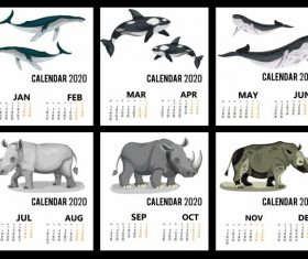 2020 calendar templates wild animals icons vector