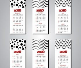 2020 calendar templates modern abstract black white vector graphics