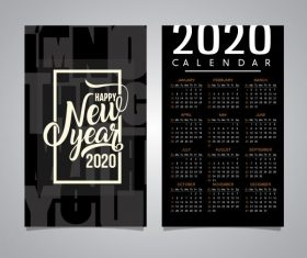2020 calendar template black white blurred vector
