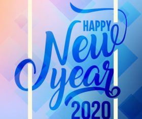 2020 new year banner bright modern calligraphic geometric vector
