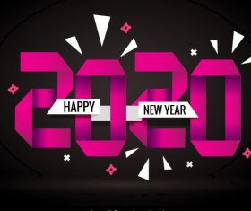 2020 new year banner dark origami numbers vector