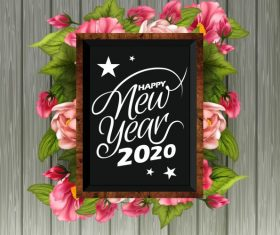 2020 new year banner floras blackboard vector