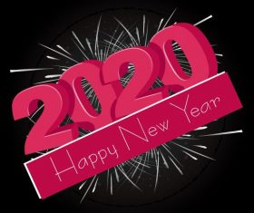 2020 new year banner 3d texts fireworks vector graphics