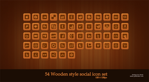 Wooden style social web icon set