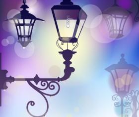 Cartoon Street lamp background vector set 01