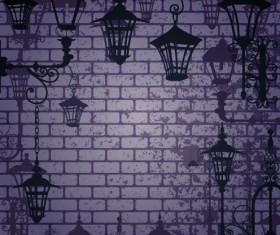 Cartoon Street lamp background vector set 02