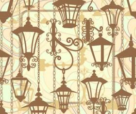 Cartoon Street lamp background vector set 03