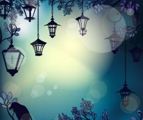 Cartoon Street lamp background vector set 04