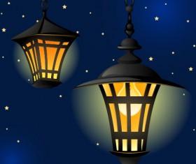 Cartoon Street lamp background vector set 05