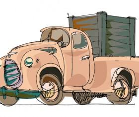 Lovely Hand draw Cartoon car vector set 02