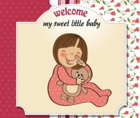 Cartoon baby card vector 01
