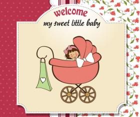 Cartoon baby card vector 02