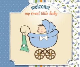 Cartoon baby card vector 03