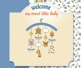 Cartoon baby card vector 04