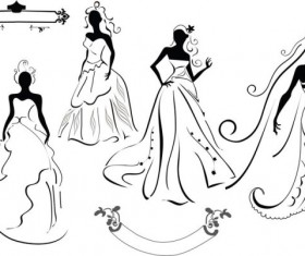 line of draft  Marriage gauze Bride vector 01