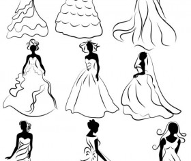 line of draft  Marriage gauze Bride vector 02