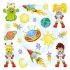 Cartoon Outer space Pattern vector 01