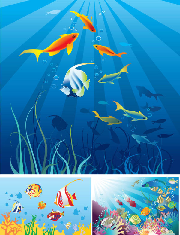 Beautiful Cartoon marine scenes Vector