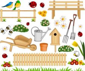 Cartoon gardens art Vector (Bird,Careless,Crawl..)