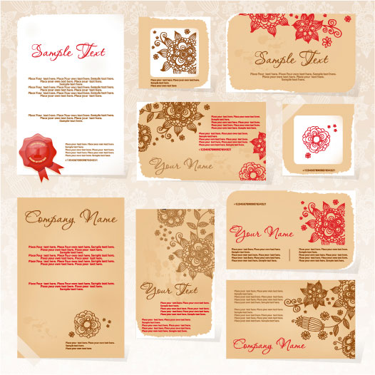 Exquisite Floral Card template vector 01