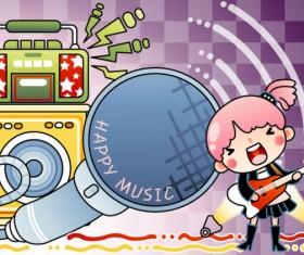 Cartoon music Illustration vetcor 03