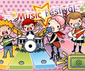 Cartoon music Illustration vetcor 04