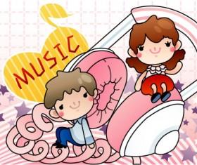 Cartoon music Illustration vetcor 05