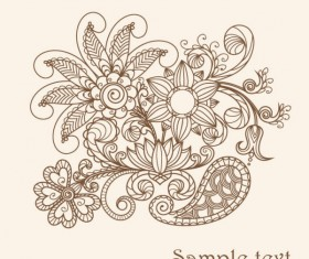 The line of draft  of Exquisite  Floral vector 04