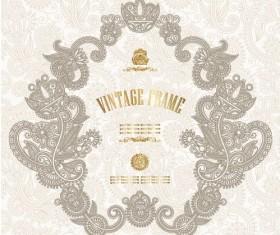European style Decorative pattern  Certificate Template vector 04