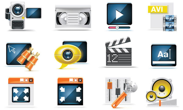 Science and technology Product Icons set 02 vector