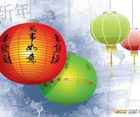 Chinese Lamps Vector Graphics