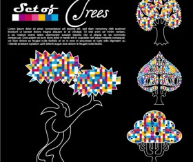 Abstract Trees background vector 01