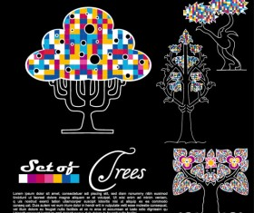 Abstract Trees background vector 02