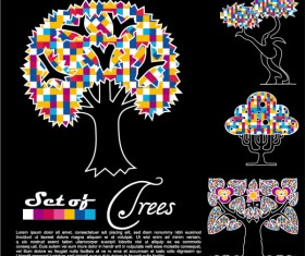 Abstract Trees background vector 03