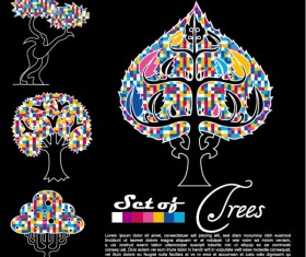 Abstract Trees background vector 04