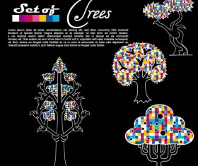 Abstract Trees background vector 05