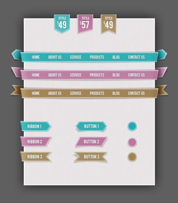 Free Web UI Set   Navigations Buttons