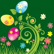 Link toEaster egg with green floral vector illustration