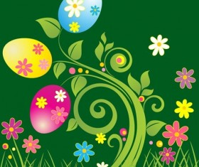 Easter Egg with Green Floral Vector Illustration