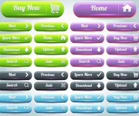 free Vector Website pushbutton set 03