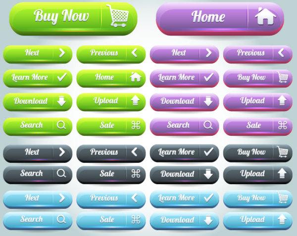 free Vector Website pushbutton set 03
