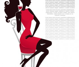 free vector Fashion Belle Silhouettes 01