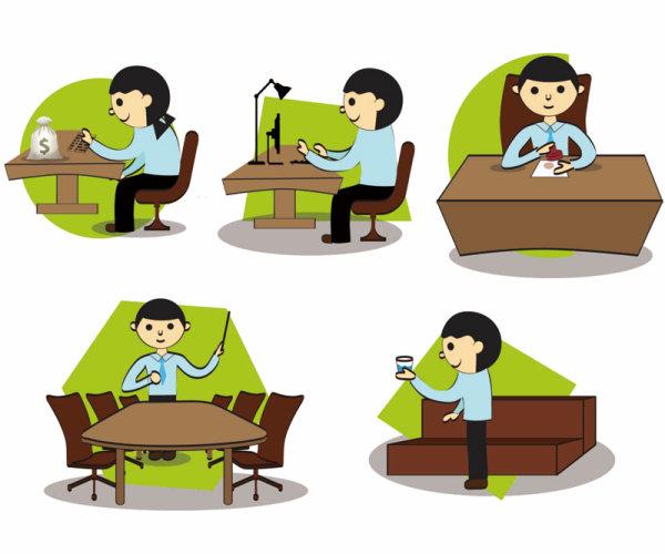 Cartoon office Setting free vector Graphics