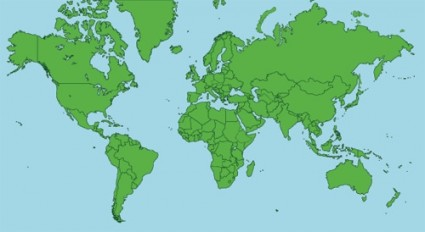 Flat map of the world vector