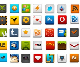 Square three-dimensional web icons